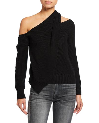 Juliet Draped Off-Shoulder Sweater