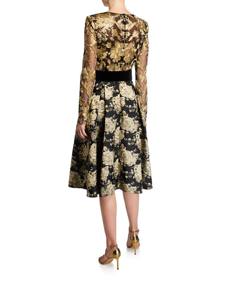 Image 2 of 2: Badgley Mischka Collection V-Neck Long-Sleeve Floral & Lace Belted Cocktail Dress