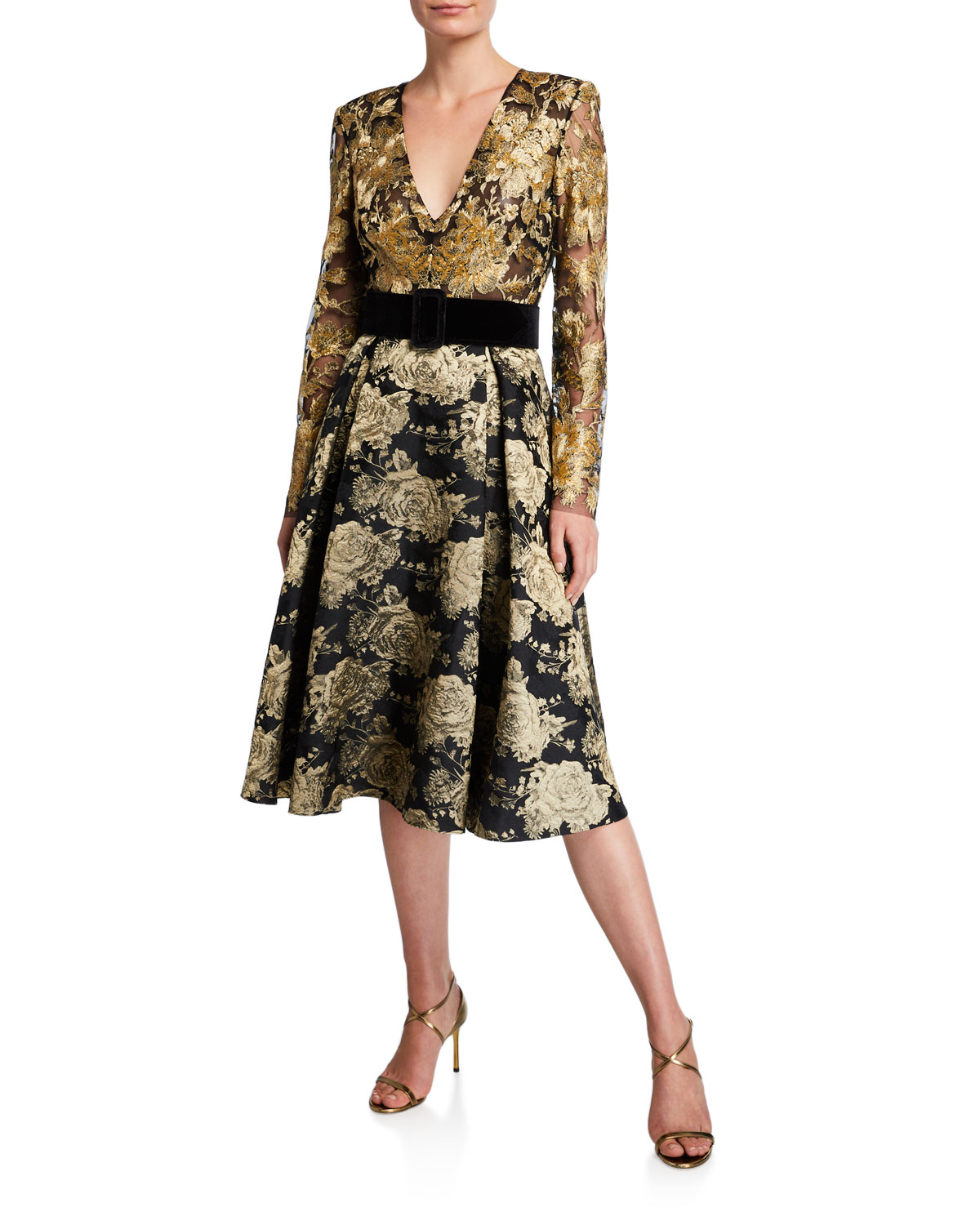Badgley Mischka Collection V-Neck Long-Sleeve Floral & Lace Belted Cocktail Dress