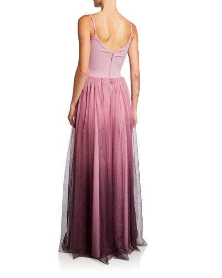 Chiara Boni La Petite Robe Vogue Ombre Spaghetti-Strap Tulle Bustier Gown
