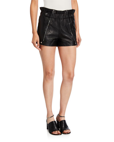 Louie Leather Zipper Shorts