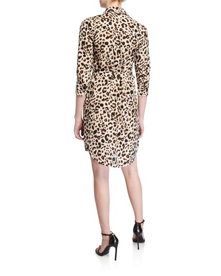 L'Agence Stella Printed Silk Shirt Dress