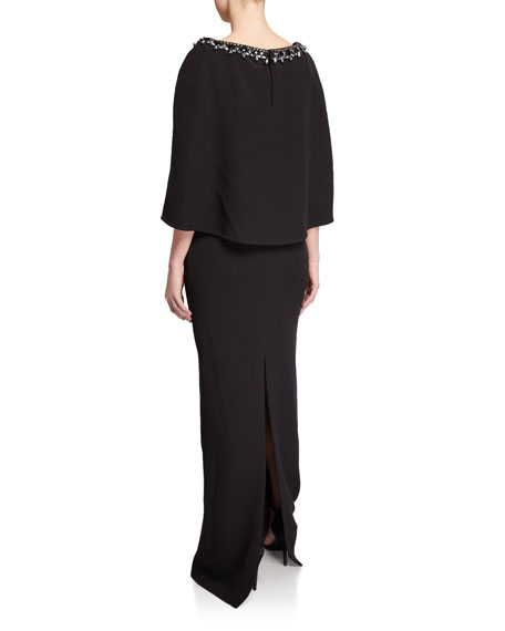Image 2 of 2: Badgley Mischka Collection V-Neck Cape Gown with Beaded Trim