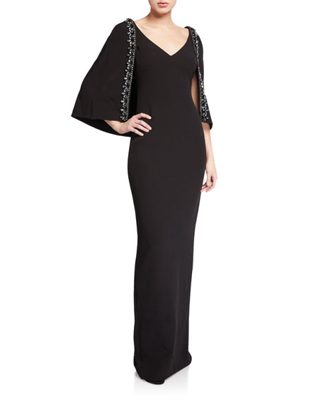 Image 1 of 2: Badgley Mischka Collection V-Neck Cape Gown with Beaded Trim