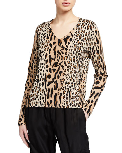 Cashmere-Blend Leopard-Print Scoop-Neck Sweater