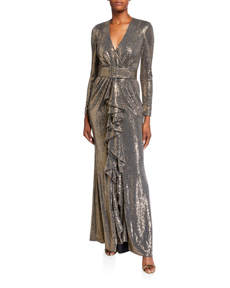 Badgley Mischka Collection Sequin Long-Sleeve Belted Gown with Cascading Ruffle