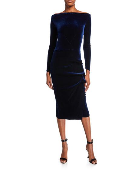 Chiara Boni La Petite Robe Bateau-Neck Long-Sleeve Shirred Velvet Midi Dress