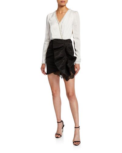 Monochrome Long-Sleeve Short Ruffle Dress