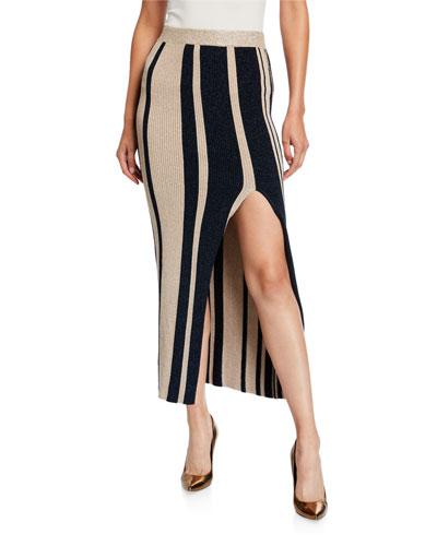 Striped Midi Skirt with Slit