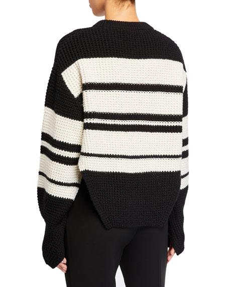 Self-Portrait Monochrome Striped Sweater with Lace Trim
