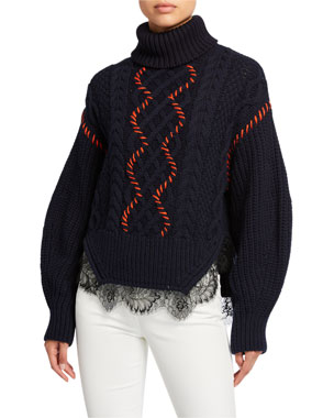 214e36eb1 Self-Portrait Cable-Knit & Lace-Trim Turtleneck Sweater