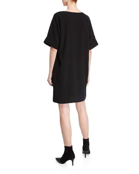 Natori Short-Sleeve Easy Crepe Shift Dress