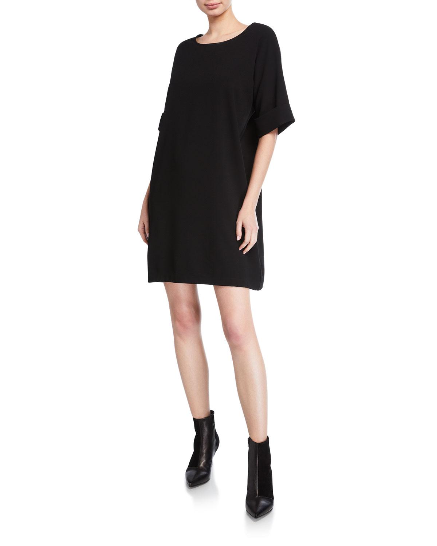 Short Sleeve Easy Crepe Shift Dress by Natori