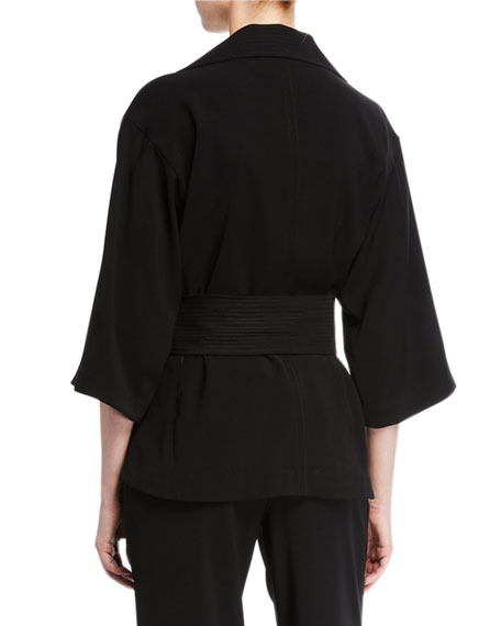 Natori Bi-Stretch High-Neck Jacket with Tie