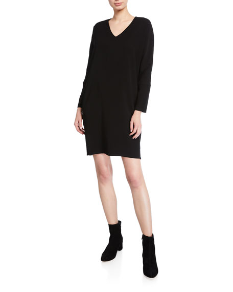 Natori V-Neck Bi-Stretch Long-Sleeve Easy Shift Dress