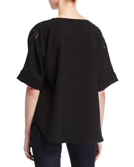 Natori Short-Sleeve Crepe T-Shirt with Embroidered Dragon