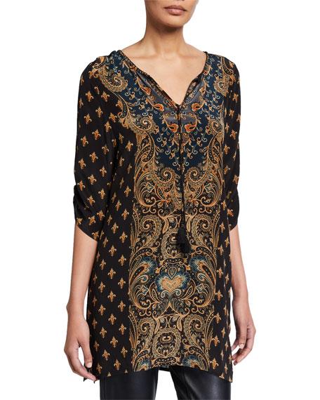 Tolani Plus Size Sanaya Printed Long Silk Tunic with Tassel