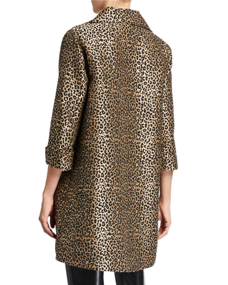 Caroline Rose Plus Size Sequin Leopard Jacquard Party Jacket