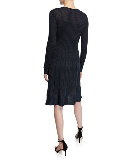 M Missoni V-Neck Long-Sleeve Short Dress