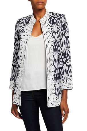 Bella Tu Ikat Linen Coat with Mandarin Collar