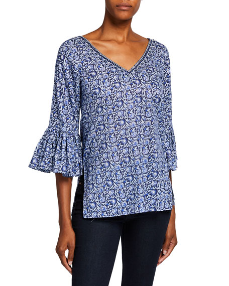 Bella Tu Riley V-Neck Ruffle-Sleeve Top