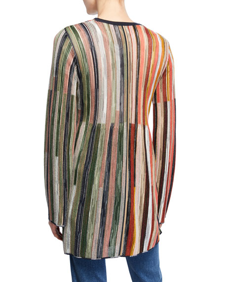 M Missoni Multicolor Stripe Long-Sleeve Open-Front Cardigan