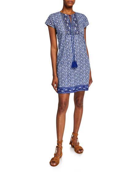 Bella Tu Riley Printed Cap-Sleeve Tassel-Tie Dress