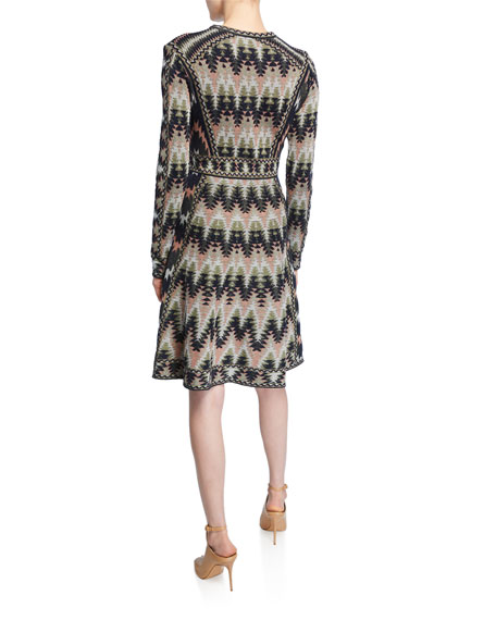 M Missoni Crewneck Long-Sleeve Short Jacquard Dress