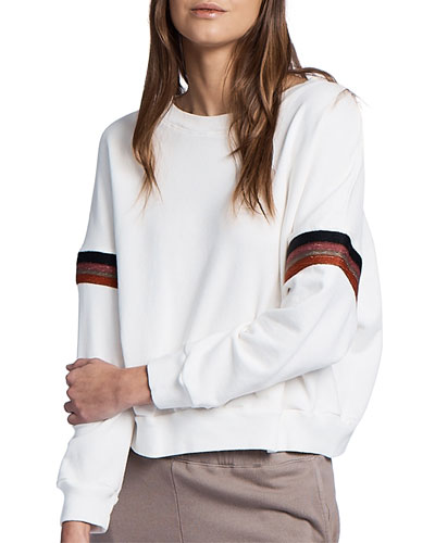 Boxy Sweatshirt with Embroidered Stripes