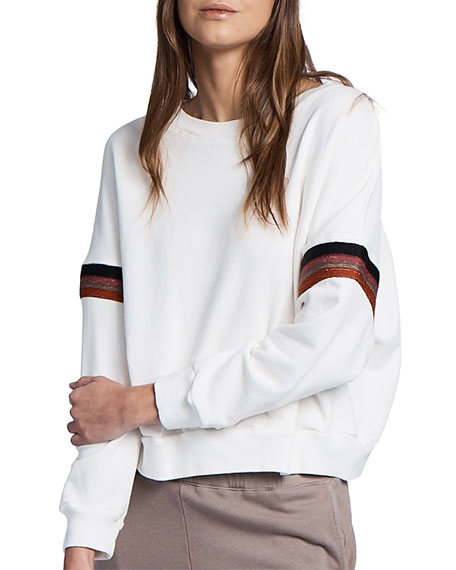 Monrow Boxy Sweatshirt with Embroidered Stripes