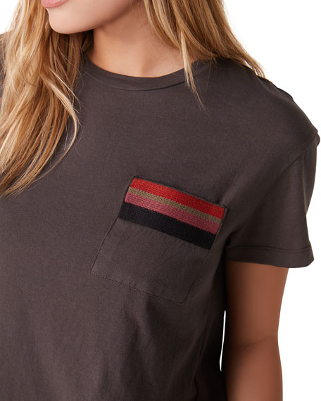 Monrow Vintage Pocket Tee with Stripe Embroidery