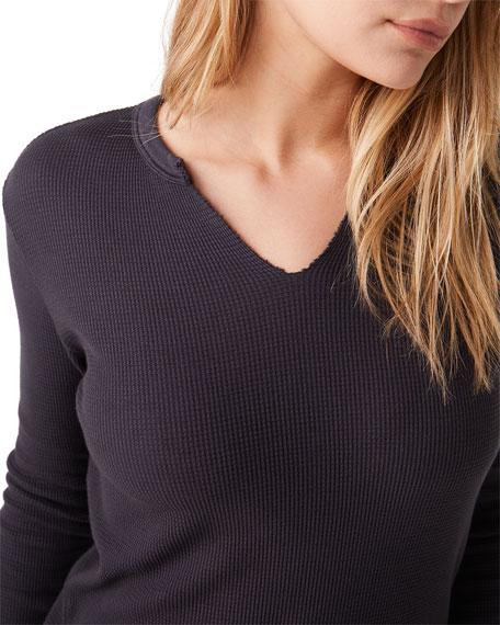 Monrow Split-Neck Long-Sleeve Thermal Top