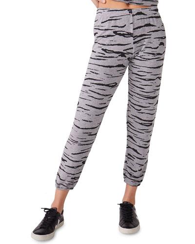 Heathered Tiger-Print Sweatpants