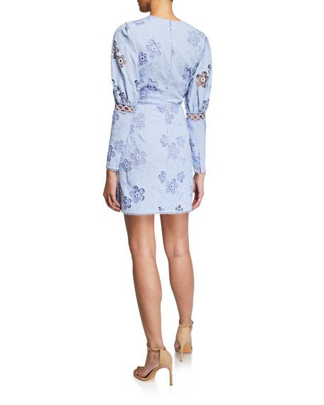La Maison Talulah Blue Hue Embroidered Floral Mini Dress