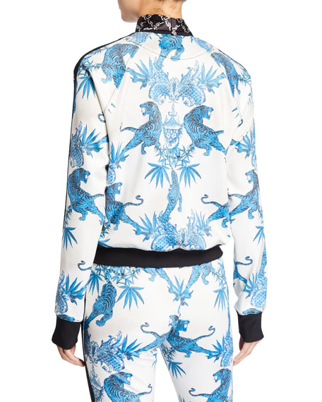 Pam & Gela Jagger Tiger-Print Cropped Track Jacket with Neck Tie
