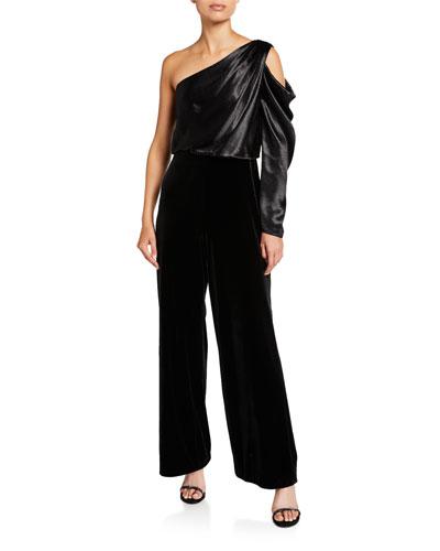Draped Asymmetrical Velvet Jumpsuit