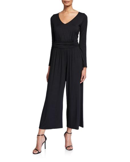 Rachel Pally Plus Size Lucas V-Neck Long-Sleeve Wide-Leg Jersey Jumpsuit