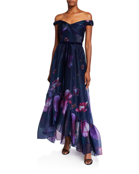 Marchesa Notte Dresses Off-the-Shoulder Floral Organza High-Low Draped-Bodice Gown