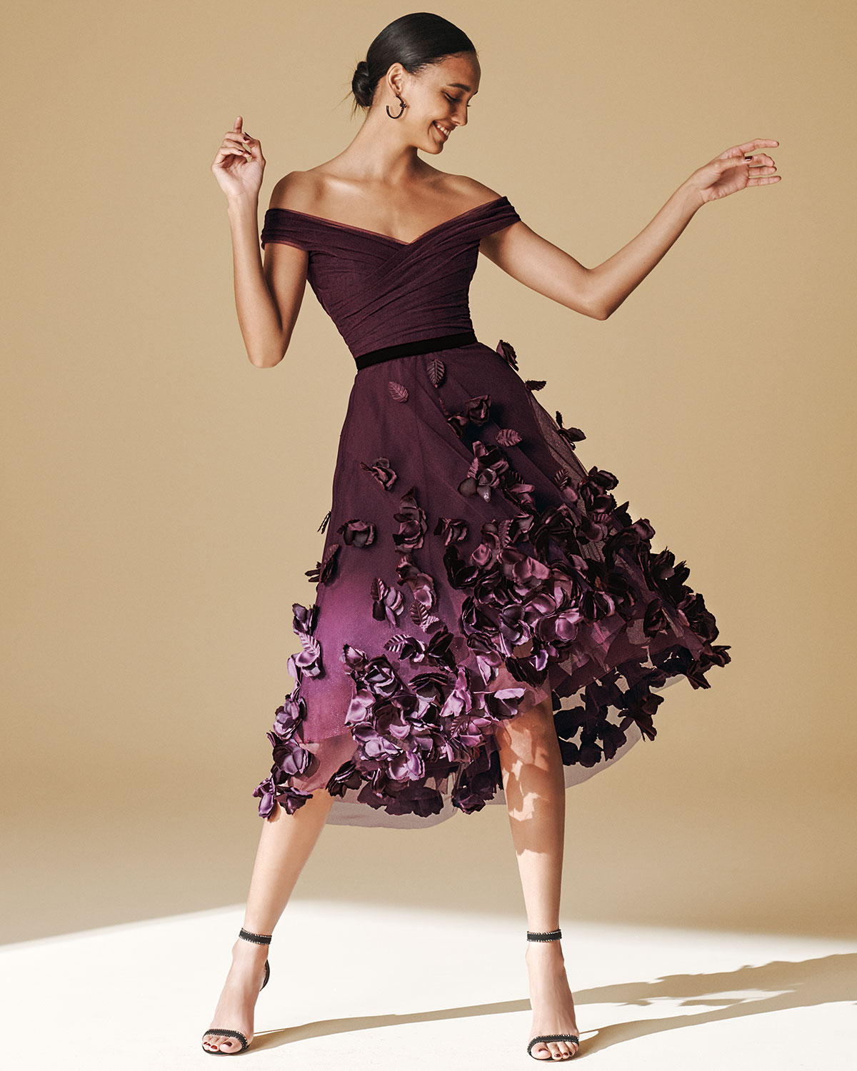 off-the-shoulder-draped-bodice-high-low-dress-w_-3d-flower-degrade by marchesa-notte