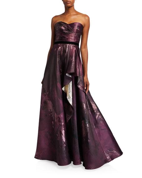 Marchesa Notte Strapless Draped Metallic Jacquard Gown w/ Velvet Ribbon Trim