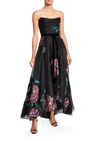 Marchesa Notte Floral Embroidered Strapless High-Low Organza Gown w/ Ribbon Trim