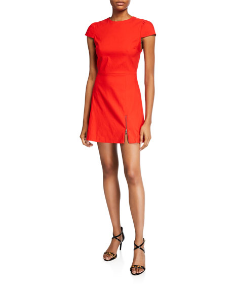 Alice + Olivia Maya Short-Sleeve Asymmetrical Zip Mini Dress