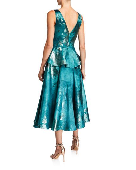 Marchesa Notte Metallic Jacquard V-Neck Sleeveless Midi Dress w/ Ruffle Detail