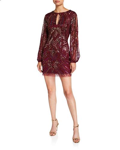 Beaded Split-Sleeve Mini Cocktail Dress
