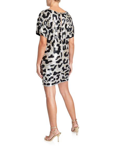 Image 2 of 2: Leopard Sequin V-Neck Short-Sleeve Mini Dress