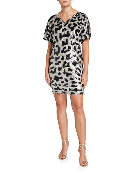 Image 1 of 2: Leopard Sequin V-Neck Short-Sleeve Mini Dress