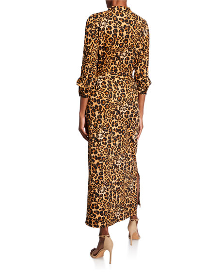 Melissa Masse Plus Size Animal-Print Brushed Luxe Jersey Long Dress with Belt