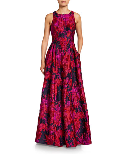 Crewneck Sleeveless Brocade A-Line Gown with Pockets