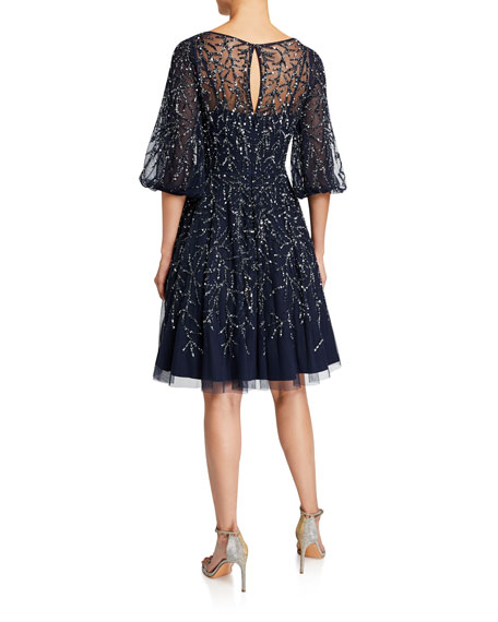 Aidan Mattox Beaded V-Neck Blouson-Sleeve Fit-&-Flare Dress
