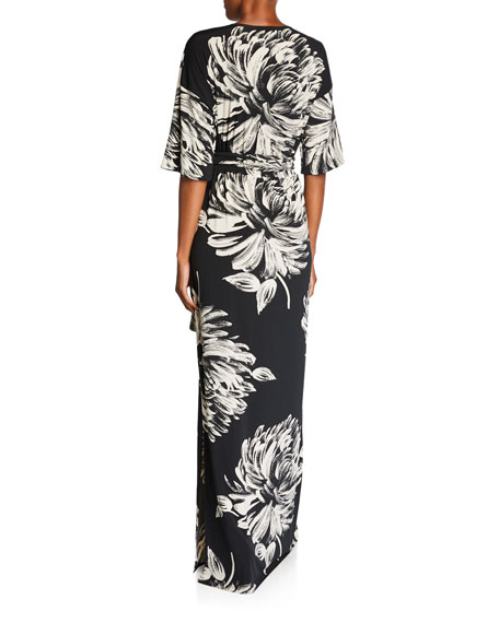 Melissa Masse Plus Size Printed Long Caftan Dress with Belt